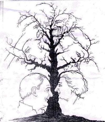 Сколько лиц нарисовано?  Ответ: Что на снимках?