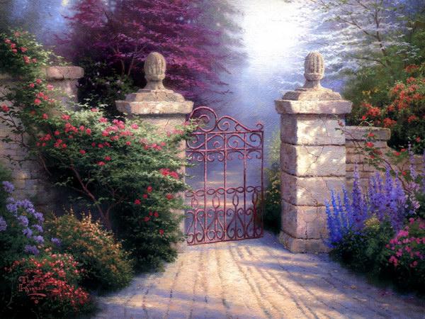 Скачать обои пейзаж, ворота в сад, Thomas Kinkade 800x600.