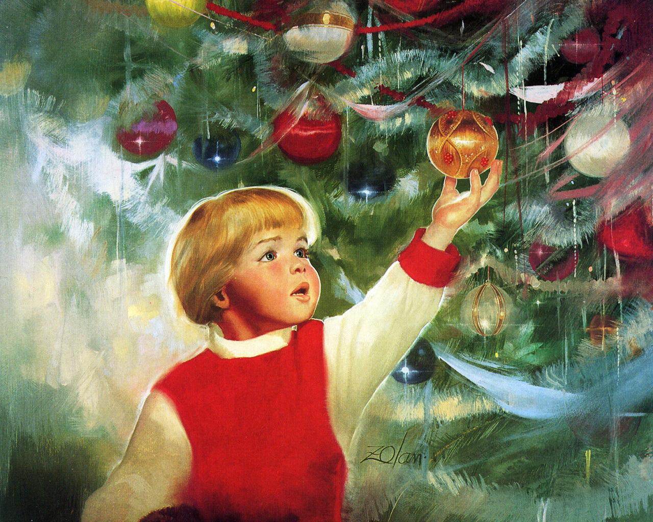 Открытка дети и елка, лодкой